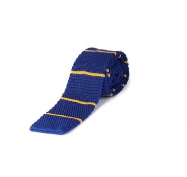 Krawat Dziany niebieski z żółtymi paskami