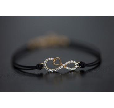 Bransoletka srebrna nieskończoność z sercem, czarny sznurek