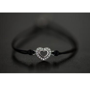 Bransoletka srebrna serce w cyrkoniach, czarny sznurek
