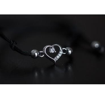 Bransoletka srebrna serce i cyrkonia, czarny sznurek