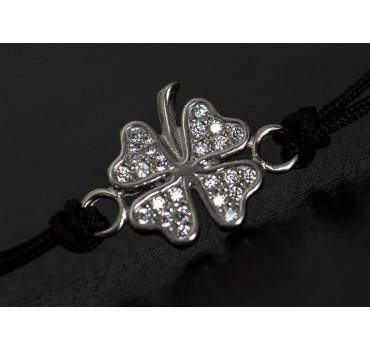 Bransoletka srebrna koniczyna z ogonkiem, czarna