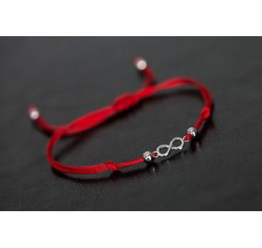 Bransoletka nieskończoność srebrna, czerwony sznurek