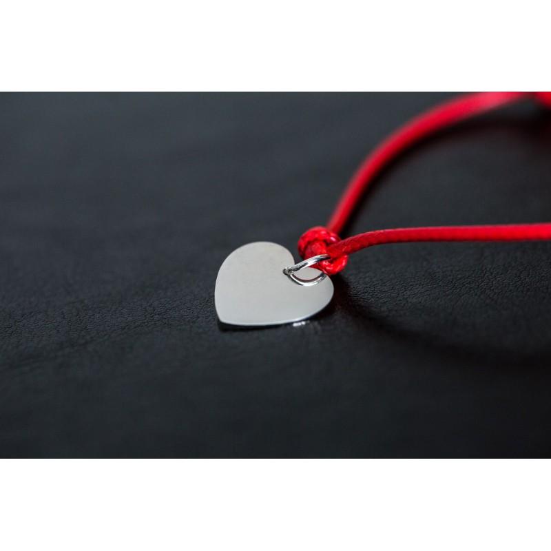 Bransoletka czerwony sznurek, srebrne serce