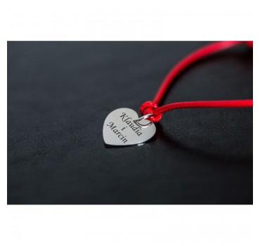 Bransoletka czerwony sznurek, srebrne serce z grawerem