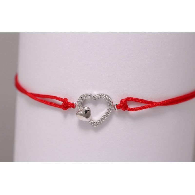 Bransoletka srebrna z dwoma sercami z cyrkoniami, czerwona
