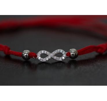 Bransoletka srebrna nieskończoność cała z cyrkoniach, czerwona
