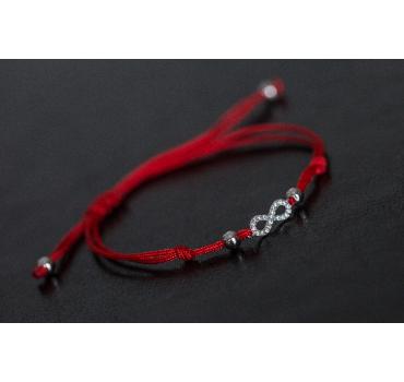 Bransoletka srebrna nieskończoność cała z cyrkoniach, czerwony sznurek