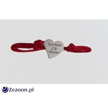 Bransoletka na sznurku - serce z grawerem