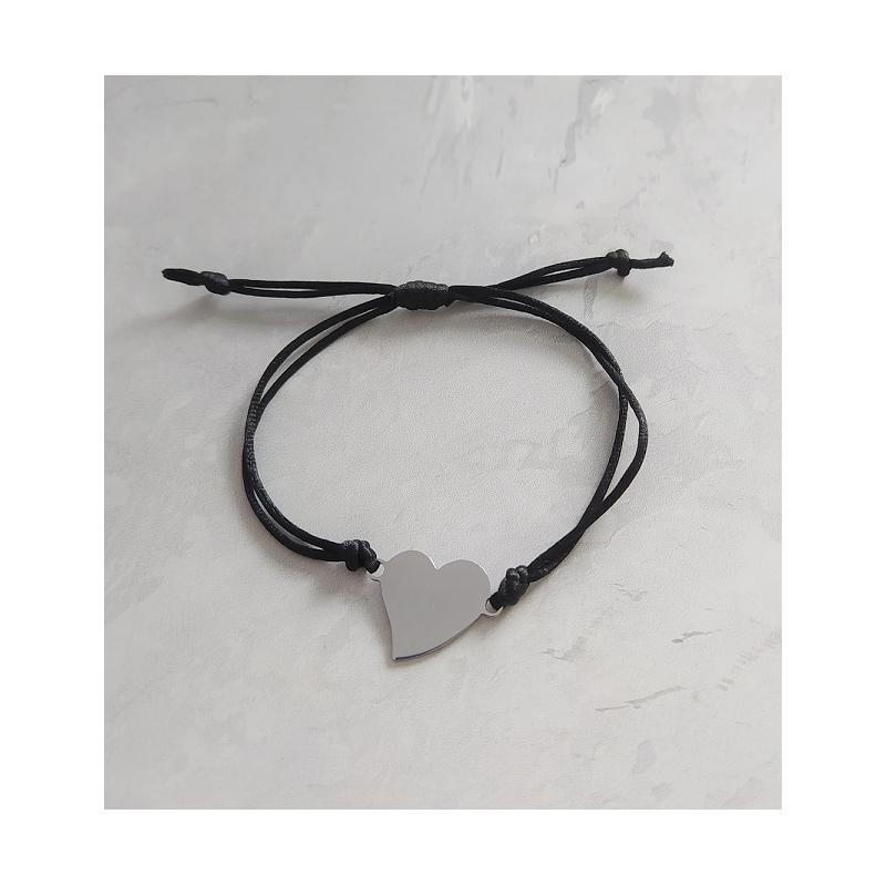 Bransoletka na sznurku - serce z grawerem czarny sznurek