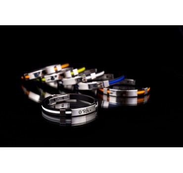 Bransoleta silikonowa czarno-niebieska 02 cm, różna wzory, z białym akcentem z przodu