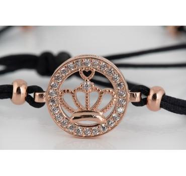 Bransoletka z koroną ze srebra z czarnym sznurkiem z cynkowanym elementem