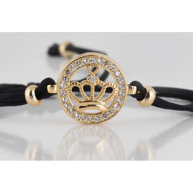 Bransoletka z kamieniem cyrkonie, korona złotą, czarny sznurek