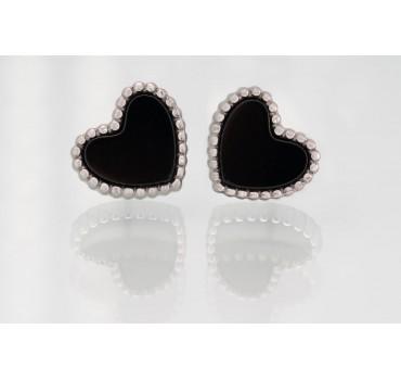 Kolczyki serca, kolczyki obramowanie w kolorze srebrnym, kolczyki czarne serca