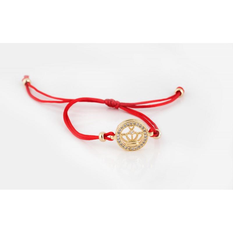 Bransoletka sznurkowa, korona czerwony sznurek
