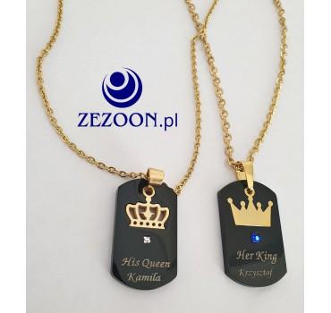 Naszyjniki stalowe dla par czarne złota korona