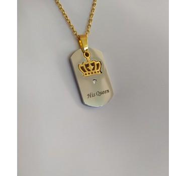 Naszyjnik stalowy Queen złoty łańcuch, srebra ze złota korona