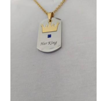 """Naszyjnik stalowy """"Her King"""" złoty łańcuch, srebrny wisiorek ze złotą koroną"""