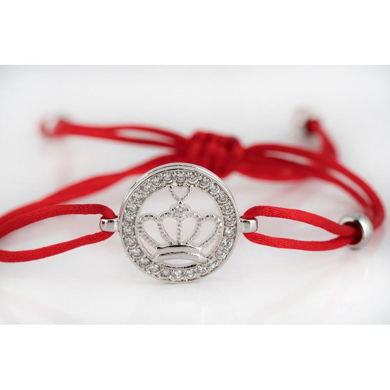 Bransoletka z czerwonym sznurkiem z koroną