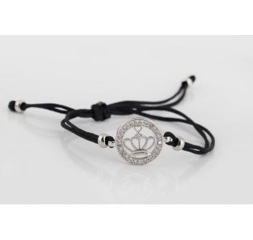 Bransoletka z koroną ze srebra z czarnym sznurkiem