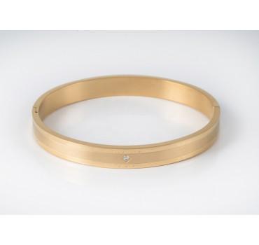 Bransoleta stalowa złota z cyrkonią