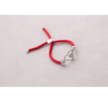Bransoletka czerwone serca sznurek czerwony