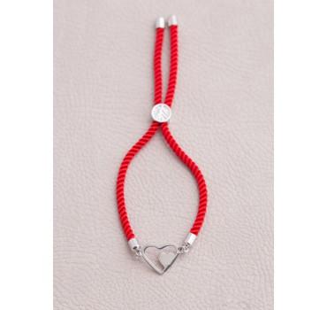 Bransoletka serca sznurek czerwony
