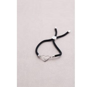 Bransoletka serca czarny sznurek