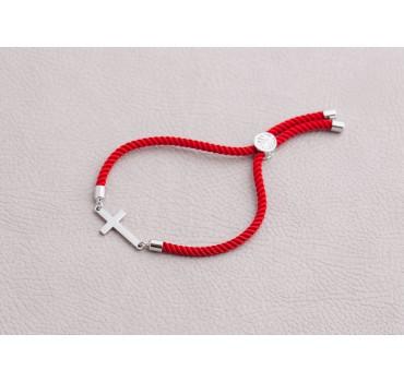 Bransoletka czerwony sznurek krzyż