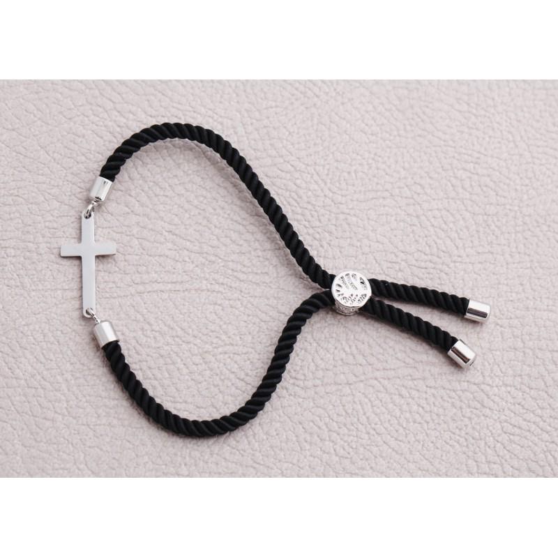 Bransoletka czarny sznurek krzyż