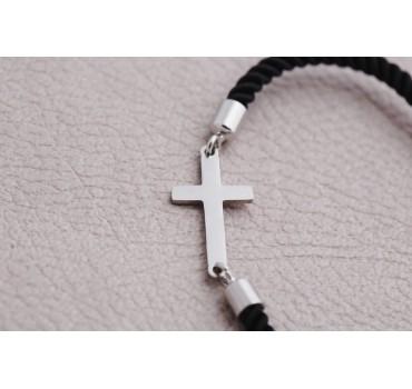 Bransoletka czarny krzyż