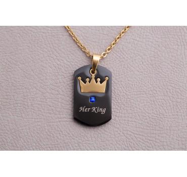 """Naszyjnik stalowy """"Her King"""" złoty łańcuch, czarny wisiorek ze złotą koroną"""