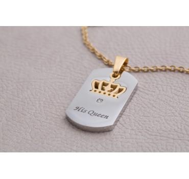 Naszyjniki stalowe dla par białe złota korona
