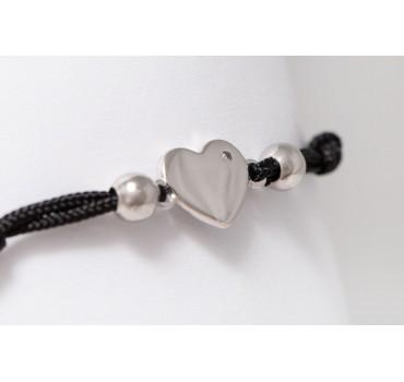 Bransoletka srebrna serce z cyrkonią, czarna