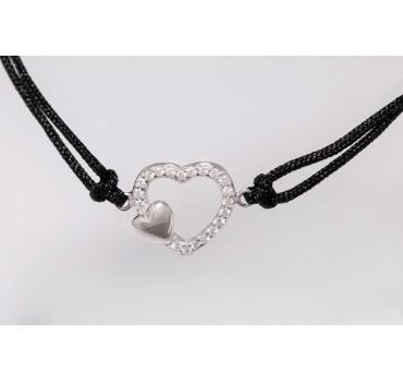 Bransoletka srebrna serce w sercu, czarna