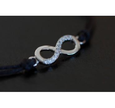 Bransoletka srebrna nieskończoność, czarny sznurek