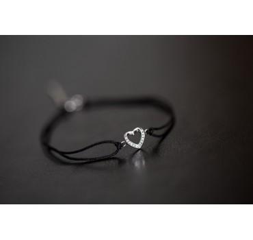 Bransoletka srebrna serce z cyrkoniami, czarny sznurek